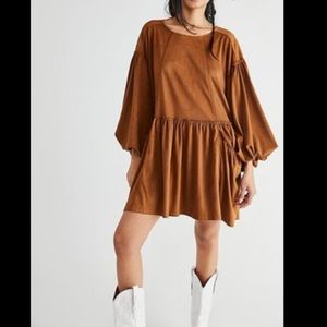 Free People Abbey Dress vegan suede XS caramel